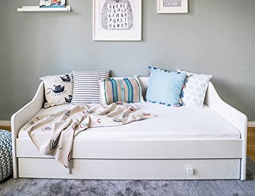 Kinderbett + Couch 160x80 mit Rausfallschutz, Lattenrost & Schublade in weiß 80 x 160 Bett Kinder Sofa
