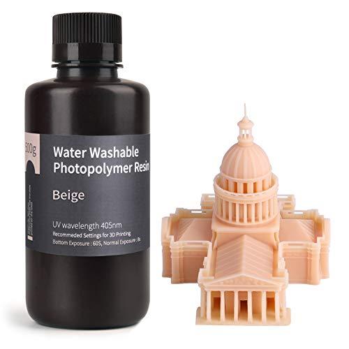 ELEGOO Stampante 3D lavabile in acqua Resina rapida LCD Resina fotopolimerizzante UV 405nm Resina fotopolimerica standard per stampa 3D LCD 500Gram Beige