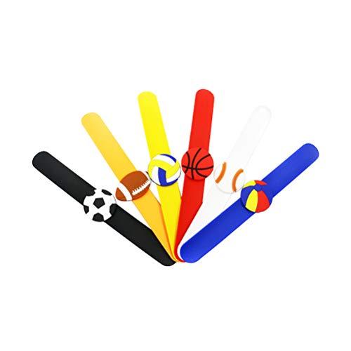 BESTOYARD Braccialetti Sport Slap Silicone Football Tema Wristband Football Patting Fascia Regalo di Favore di Partito per Bambini Bambini, Confezione da 6