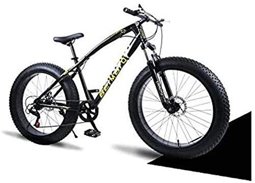 HCMNME Bicicleta Duradera Bicicletas de montaña, Bicicleta rígida de Doble Freno de Disco Fat Tire Bike Crucero, de Alto carbón del Marco de Acero, Asiento Ajustable de la Bicicleta Cuadr