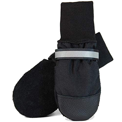 Muttluks All-Weather Dog Boots – Warm, Cozy, Water Resistant Socks for Dogs, Puppies – Stretchy, Adjustable Pet Booties – Leather Soles, Reflective Straps – 4 Pack – Black, X-Small