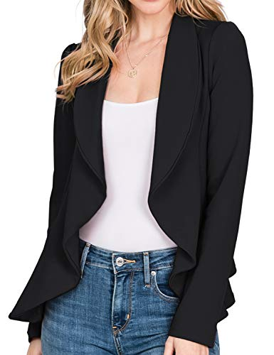 CLOVERY Women's Long Sleeve Lightweight Thin Chiffon Open-Front Blazer, Black Small