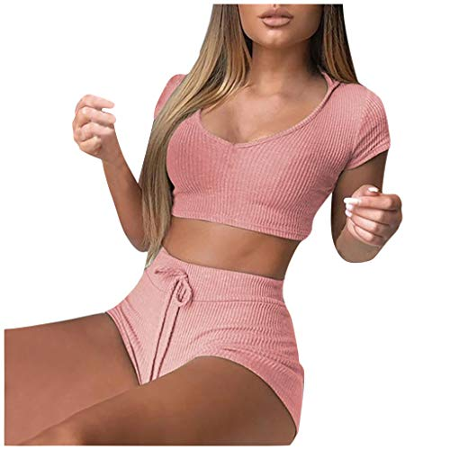 Xniral Kleding yogaset, dames trainingspak set yoga joggen running pak pak vrouwen 2-delige set sportpak slim fit ademend sneldrogend gym fitness outfit sportpak (a roze, S)