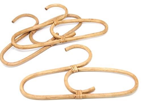 Linen Perch Wooden Baby Hangers - Bamboo Clothes Hangers - Natural, Eco-Friendly - Rattan Décor - Wood Baby Hanger - Boho Nursery Décor -Set of Three- (11' x 6')