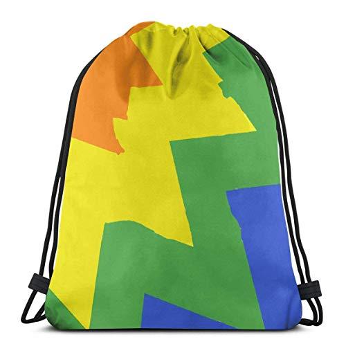 March flowers Gay Flag Rainbow Art Flag 3D Print Drawstring Backpack Rucksack Shoulder Bags Gym Bag for Adult 16.9\