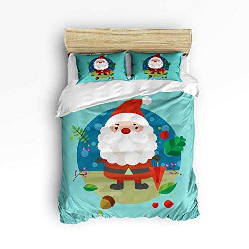 3 Piece Bedding Set , Cartoon Christmas Santa Claus with Umbrella and Tinkle Bell on Tropical Leaves Circled Pattern 3 pcs Duvet Cover Set Bedspread Daybed for Childrens/Kids/Teens/Adults