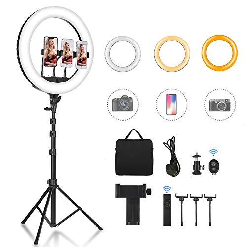 CXYP Ringleuchte Licht Set: 18 Zoll Ringlicht mit 63 Zoll Stativ Außen 55W 6000K dimmbare,Selfie Ringleuchte mit 3 Farbe und 10 Helligkeitsstufen für YouTube TikTok Self-Porträt der Videoaufnahme