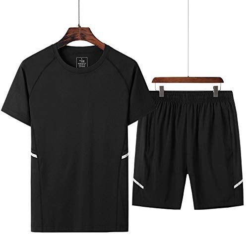 FDSHOSFH Summer Fitness, Quick-Drying, Two-Piece Suit, Men's Breathable, Perspiration, Fitness, Sports, Casual Short-Sleeved T-Shirt-Black_XXL