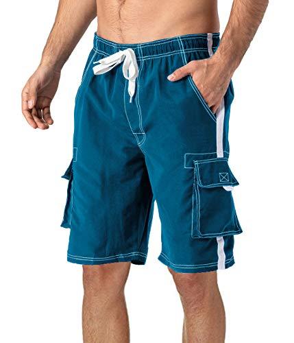 TACVASEN Pantalones cortos de baño de secado rápido con forro de malla para hombre XX-Grande Azul eléctrico