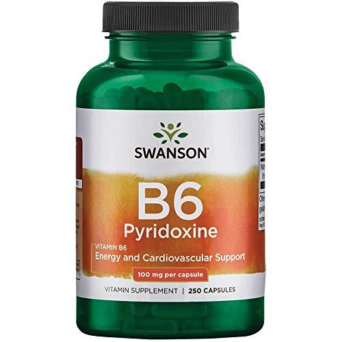 Swanson Vitamin B-6 (Pyridoxine) Cardio Health Support Energy Metabolism 100 Milligrams 250 Capsules