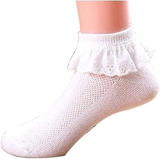 cosanter Niños Calcetines Lace Cuff Sock Kids Calcetines con punta para niña de edad de recién nacido hasta 12años Blanco 2 Talla:S