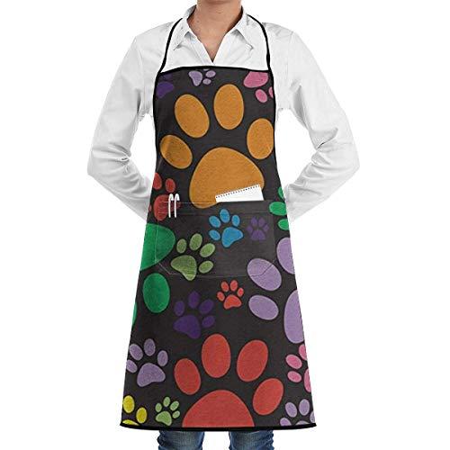 Delantal con Babero Puppy Cute Paws Impreso Ajustable Cocina Delantal de Chef de Cocina con Bolsillo para Hombres/Mujeres, Cocina, horneado, Manualidades, jardinería y Barbacoa
