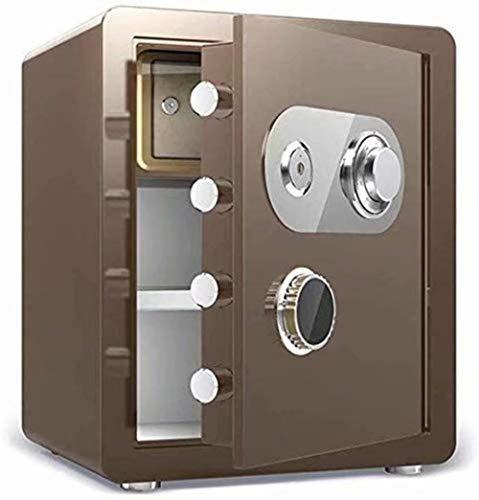 Vault kluis, beveiligd, huishouden, mechanische sloten + sleutelvak, high security staal, anti-diefstal-vuur- en waterdicht, elektronisch 38X33X45Cm meubelkluis (kleur: lichtbruin)