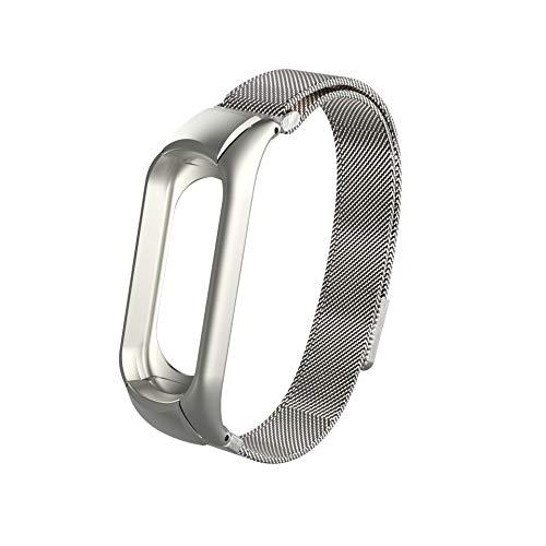 iMounTop Xiaomi Mi Band 3 Mi 3 Armband Ersatz Stainless Steel Edelstahl Armband für Xiaomi Mi Band 3 (Hinweis:Den Tracker Nicht umfassen) (Silber)