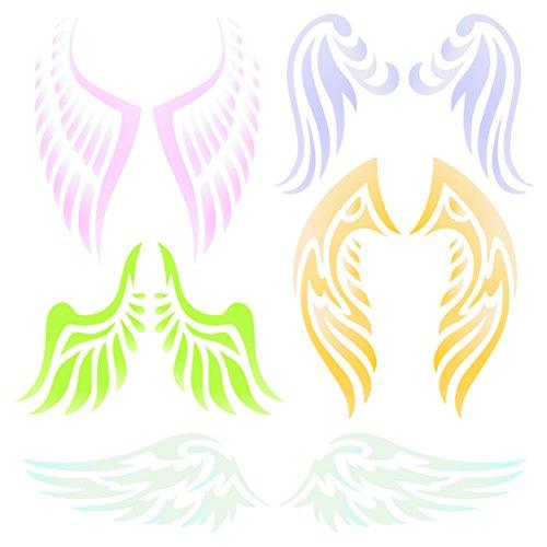 Angel Wing Schablone–wiederverwendbar Christian Guardian Engel Flügel Wand Schablone–Vorlage, auf Papier Projekte Scrapbook Tagebuch Wände Böden Stoff Möbel Glas Holz usw. Größe S