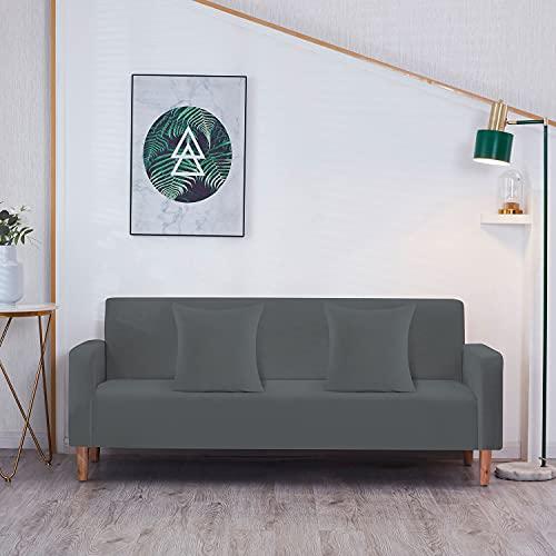 Trimming Shop Fundas de sofá elásticas de terciopelo, fundas elásticas para sofá con 2 fundas de almohada, protectores universales para sala de estar, fundas gruesas, antideslizantes, grises, 4 plazas