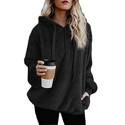 Women's Oversized Sherpa Pullover Hoodie with Pockets Fuzzy Fleece Sweatshirt Fluffy Coat