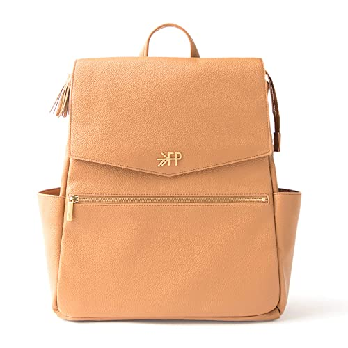 Freshly Picked - Convertible Classic Diaper Bag Backpack - Large Internal Storage 10 Pockets Wipeable Vegan Leather - Butterscotch Tan