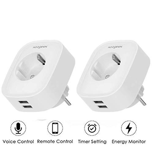 Enchufe inteligente Wi-Fi Koogeek Compatible con Alexa y Google 2 Puertos USB Control remoto Control de voz Temporizador Monitoreo de energía No requiere concentrador EU Plug 2 Pack