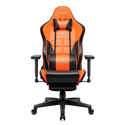 Kirogi Gaming-Stuhl, Gamer-Stuhl mit Fußstütze, Ergonomischer Computerstuhl, Verstellbarer PC-Gaming-Stuhl, großer und hoher Bürostuhl aus Kohlefaser Leder. Orange