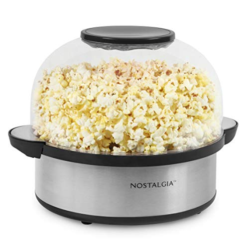 Nostalgia Stainless Steel 6-Quart Stirring Speed Popper with Quick-Heat Technology 24 Popcorn, with Kernel Measuring Cup, Makes Roasted Nuts, Perfect...