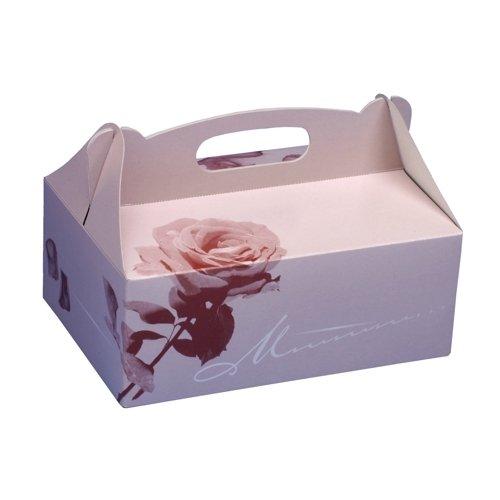 Papstar Gebäckkartons / Cupcake Box mit Tragegriff (20 Stück), eckig, rosé mit hübschem Neutraldruck, 20 x 13 x 9 cm, aus 350 gr/m² starker Pappe, #18851