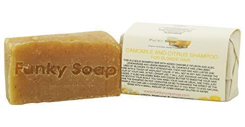 Funky Soap 1 Unidad Camomila & Ctrico Champ para Cabello Rubio 100% Natural Artesanal Aprox.65g