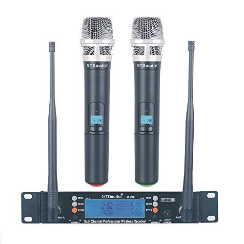 GTD Audio 2x100 Adjustable Frequency Channels UHF Wireless Microphone DJ Karaoke Mic System Long Range 400Ft, Battery 12 Hours (2 Handheld Mics) 260H