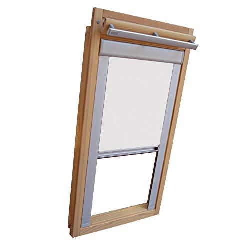Verdunkelungsrollo Rollo für VELUX Dachfenster TYP GGL/GPL/GGU/GPU - CK06 - Farbe weiß - mit Aluminium Seitenschienen - KLICK Montage