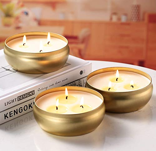Citronella Candles, 3 Pack 14 oz Each 3-Wick Scented Candle Soy Wax Portable Travel Tin Gift Set, Outdoor and Indoor
