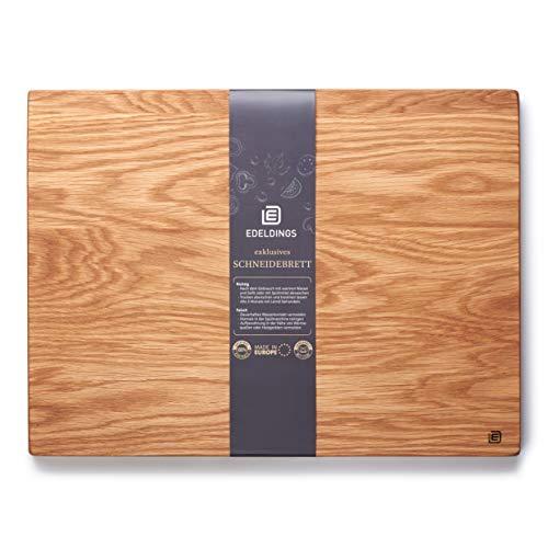 Edeldings XXL Massivholz Schneidebrett aus Eiche | Groß 40 х 30 | Küchenbrett Holz aus Europa | Antibakterielles Holzschneidebrett, Servierbrett, Holzbrett, Eichenholz massiv für Küche