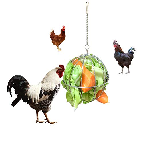 Vehomy Chicken Treat Ball Chicken Vegetable Twister Veggie Hanging Basket Toy for Hens Rooster