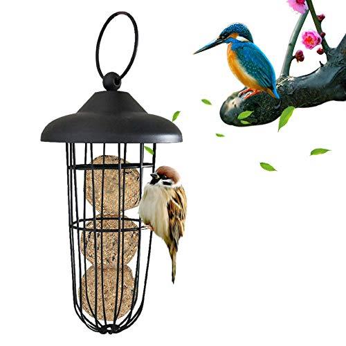 SNIIA Bird Feeder Mijsblokhouder om op te hangen voederdispenser voor wilde vogels voederzuil met dak, ijzer - 10x24cm
