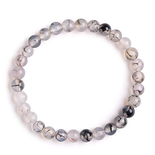 J.Fée Perlenarmband Edelstein-Armband Armband aus Naturstein Perlen Yoga-Armband Armband aus Naturstein 6mm Rundes Perlenarmband Achat-Armband Armband Geschenk für Frauen Männer