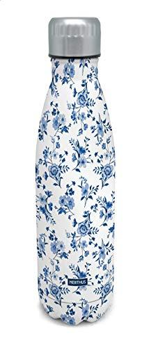 NERTHUS Termo Doble Pared para frios y Calientes Diseño Flores Azul de Acero Inoxidable 500 ml Libre de BPA