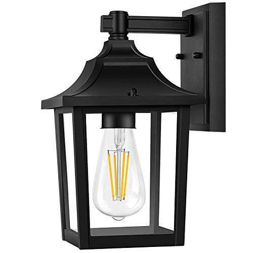 PARTPHONER Outdoor Light Fixtures Wall Mount, Porch Light Matte Black Finish Wall Sconce with E26 Socket, Waterproof Anti-Rust Modern Wall Lantern, Wall Light with Clear Glass for Entryway, Garage