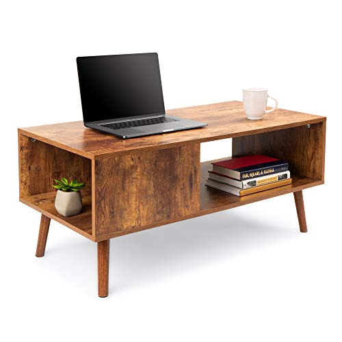 Best Choice Products Wooden Mid-Century Modern Retro Coffee Accent Table, Indoor Furniture for...