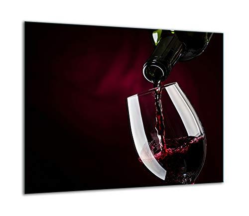 TMK | Herdabdeckplatte 60x52 Einteilig Glas Elektroherd Induktion Herdschutz Spritzschutz Glasplatte Deko Schneidebrett schwarz Wein