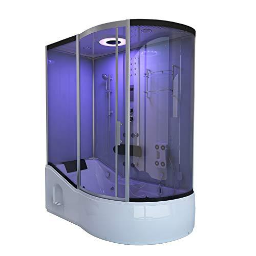 Home Deluxe - Duschtempel mit Regendusche und Handbrause - All IN 2in1 weiß rechts - Maße: 170 x 90 x 220 cm | Komplettdusche mit Wanne, Fertigdusche, Dusche, Duschkabine Komplett