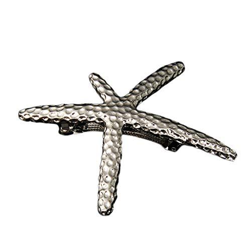 Yinuneronsty 1Pcs Damen Silber Vintage Französisch Haarspange Starfish Feather Haarnadeln