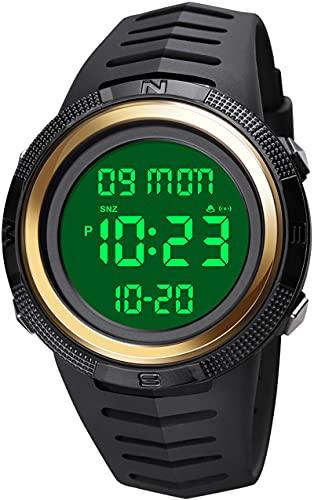 Reloj de pulsera digital para hombre, cronómetro, doble tiempo, alarma, resistente al agua hasta 50 m, temporizador de cuenta atrás para hombres, Oro Blanco,