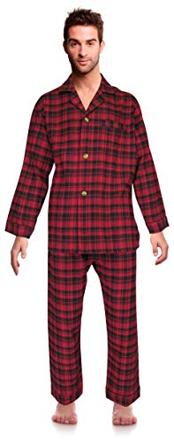 Casual Trends Classical Sleepwear Men's 100% Cotton Flannel Pajama Set, Size Large Red