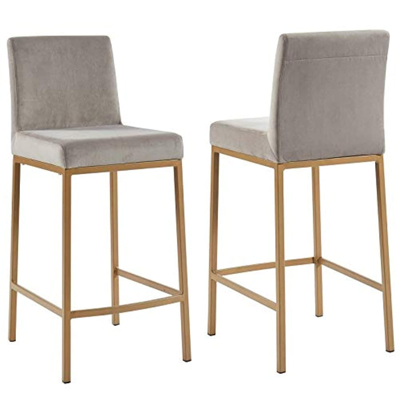 MyChicHome Dehati Set of 2 Contemporary Velvet & Metal 26'' Counter Stool in Grey with Gold Legs