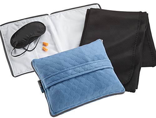 Lewis N. Clark Ultimate Comfort Set + Portable Travel Kit for Airplane, Includes Inflatable Pillow + Zippered Carrying Case, Cozy Fleece Blanket, Eye Mask for Sleeping & Foam Ear Plugs, Black