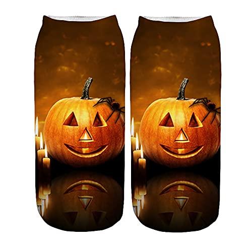 YWLINK Calcetines De Negocios De Trabajo 3D Halloween Patrones De ImpresióN Medianos Calcetines De Tobillo Calcetines Antideslizante Suave Y Transpirable Calcetines De AlgodóN (H4, M)