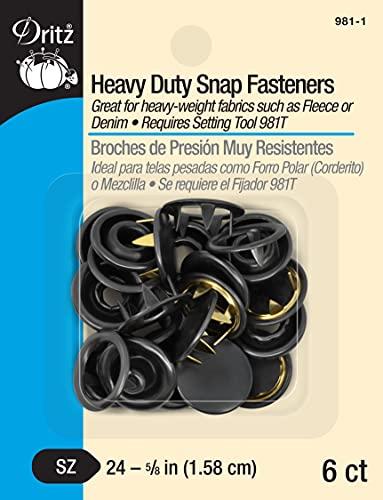 Dritz 981-1 Heavy Duty Snap Fasteners, Black, Size 24 (5/8-Inch) 6-Count