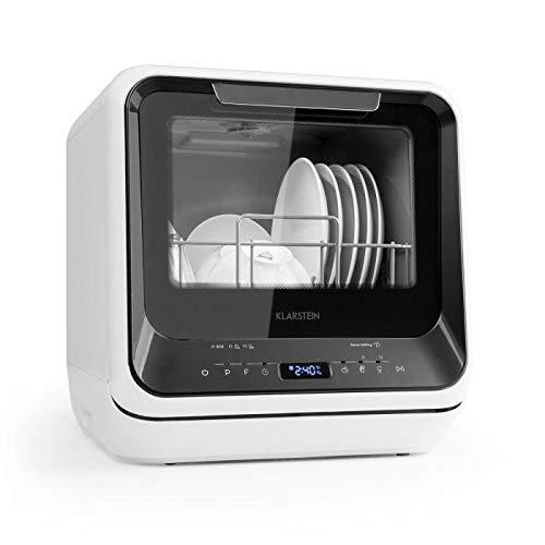 Klarstein Amazonia Black Line - Mini lave-vaisselle, 360° Wash, 6 programmes, Pratique pour camping, Ecran LED, Peu encombrant, Circulation d'air frais, Signal sonore, Noir