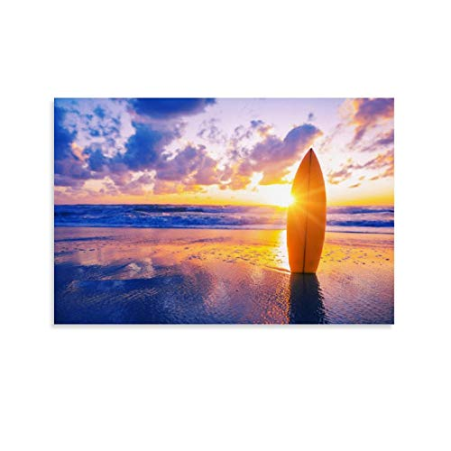 JTYK Art Sunset on the Beach and Surf - Póster decorativo para pared, diseño de atardecer en la playa y surf, 30 x 45 cm