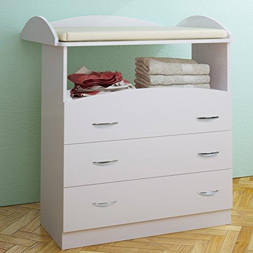 Cambiador para bebés espacioso con 3 cajones en color blanco