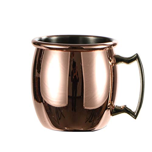 KoelrMsd Taza de pc 60ml Mini Taza de Mula de Moscú martillada, Tazas de Cobre expreso, Vasos de chupito, Lindas Tazas de Acero Inoxidable de 2 oz para Mini Bar